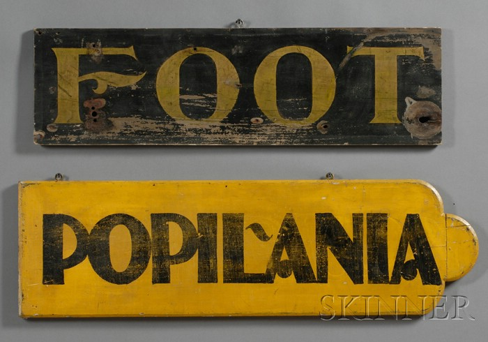 """Two Painted Wood Signs """"FOOT"""" and """"POPIL-ANIA,"""""""