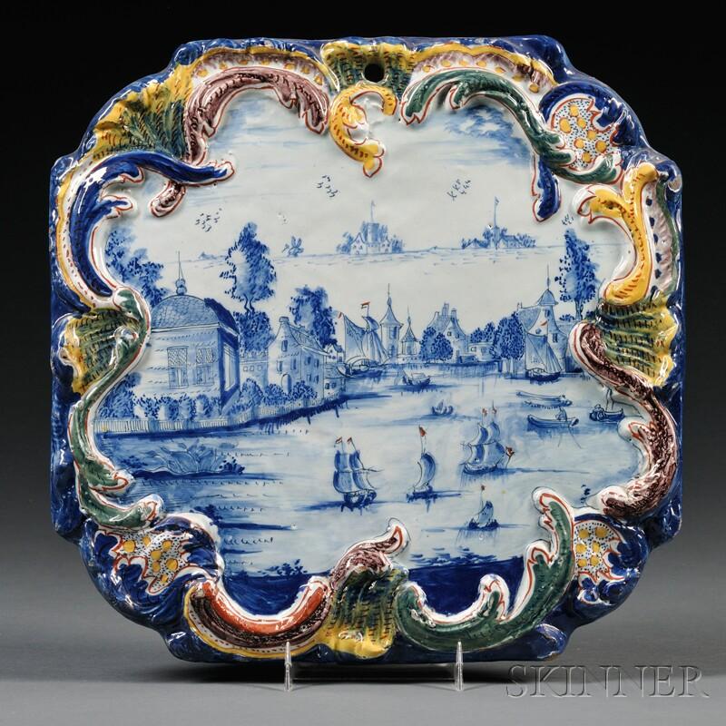 Dutch Delft Polychrome Decorated Plaque