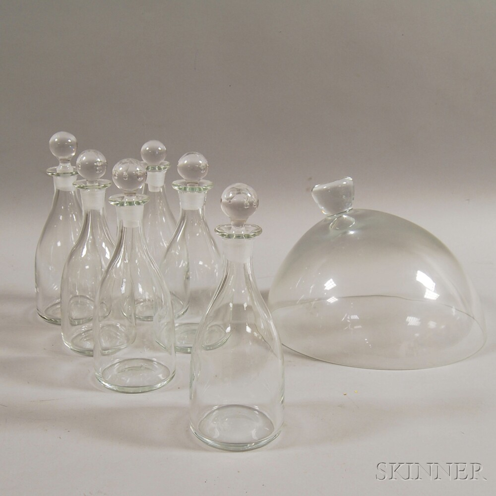 Set of Six Kosta Glass Decanters and a Glass Dome