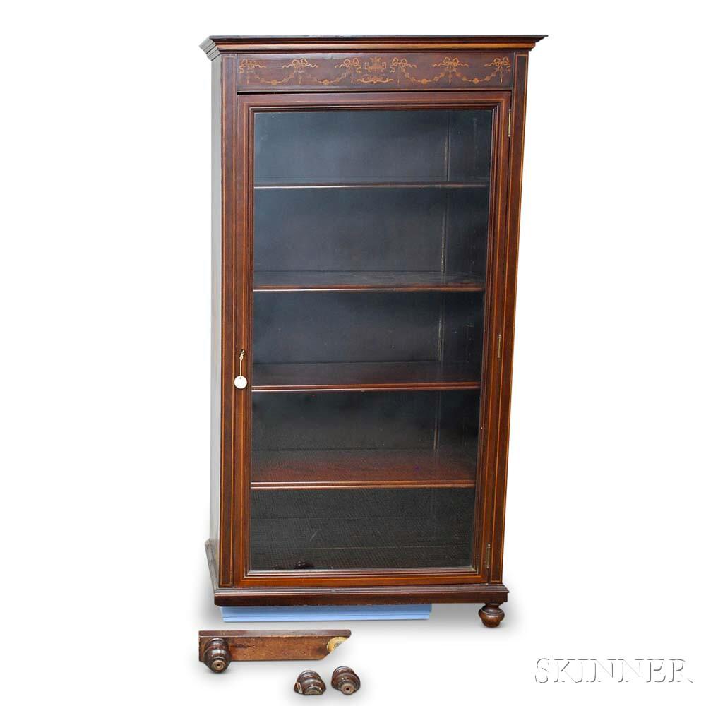 Edwardian Inlaid Mahogany Glazed Cabinet