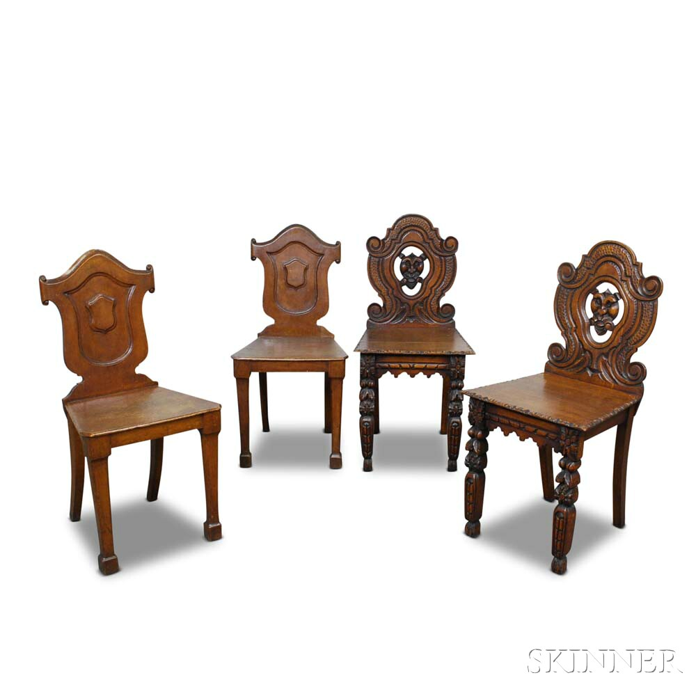 Two Pairs of Carved Oak Hall Chairs