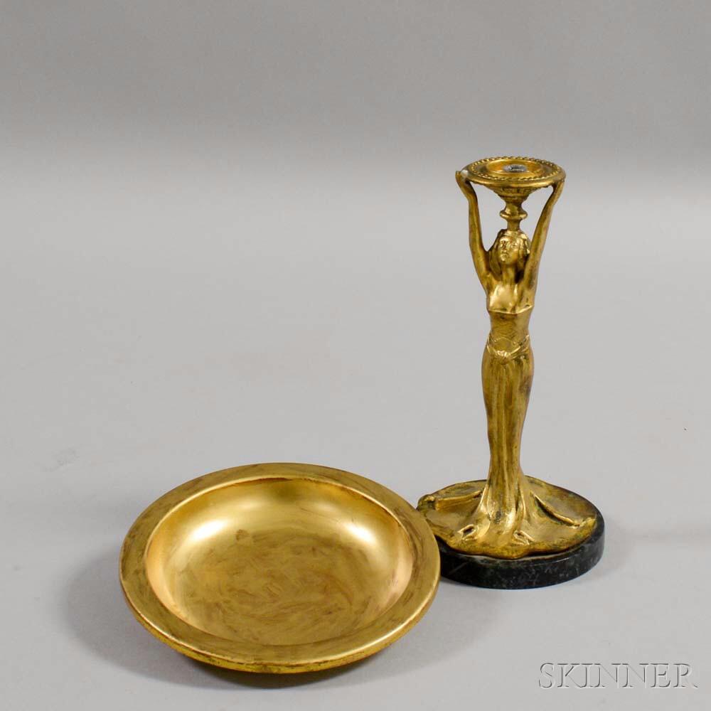Art Nouveau Gilt-metal Figural Tazza