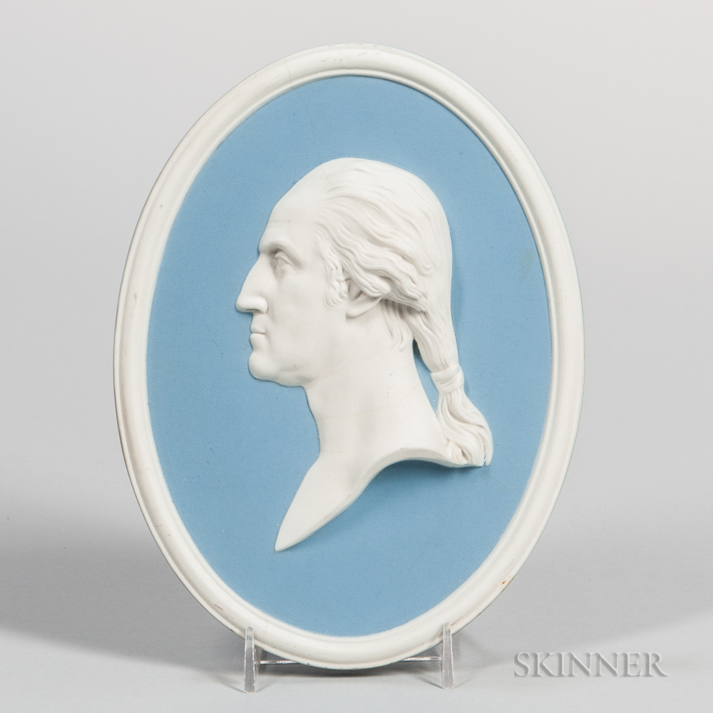 Wedgwood Solid Light Blue Jasper Portrait Plaque of Washington