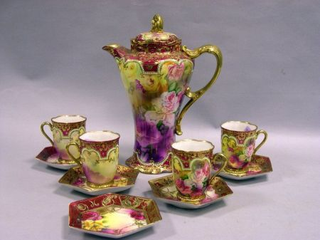 Ten-Piece Nippon Gilt and Handpainted Rose Decorated Porcelain Partial Chocolate   Set