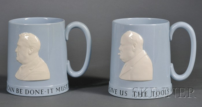 Two Wedgwood Queen's Ware Commemorative Mugs