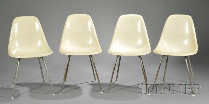 Four Charles and Ray Eames DCM Chairs