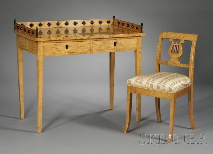 Biedermeier Birch Table and Chair