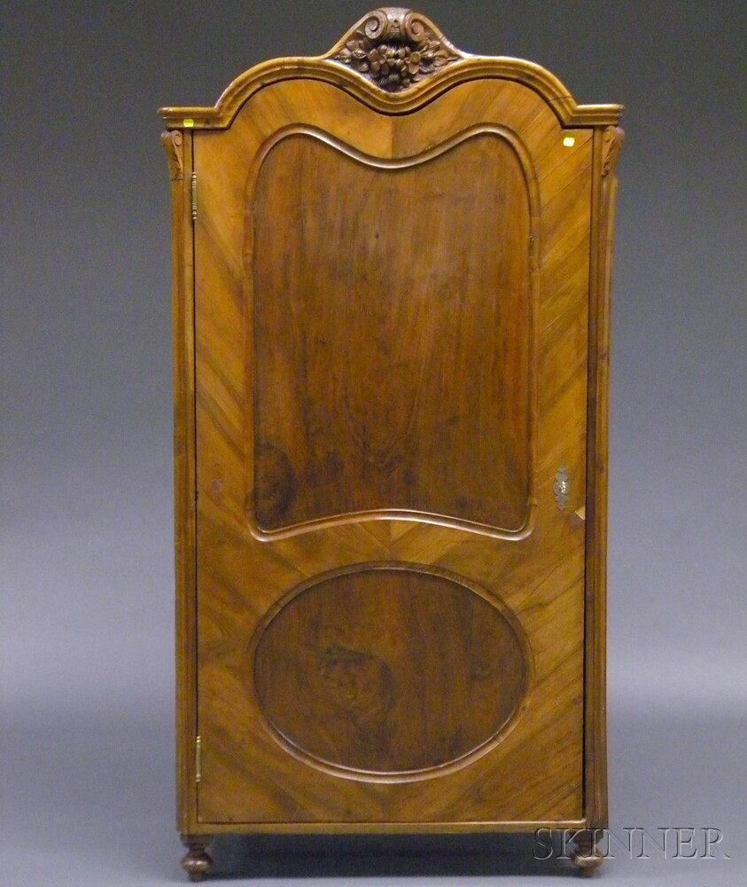 French Provincial-style Scroll Top Walnut Veneer Armoire