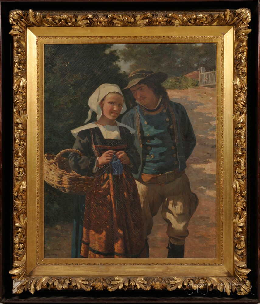 French School 19th Century Young Breton Couple Sale