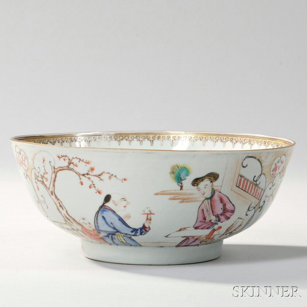 Small Export Porcelain Punch Bowl
