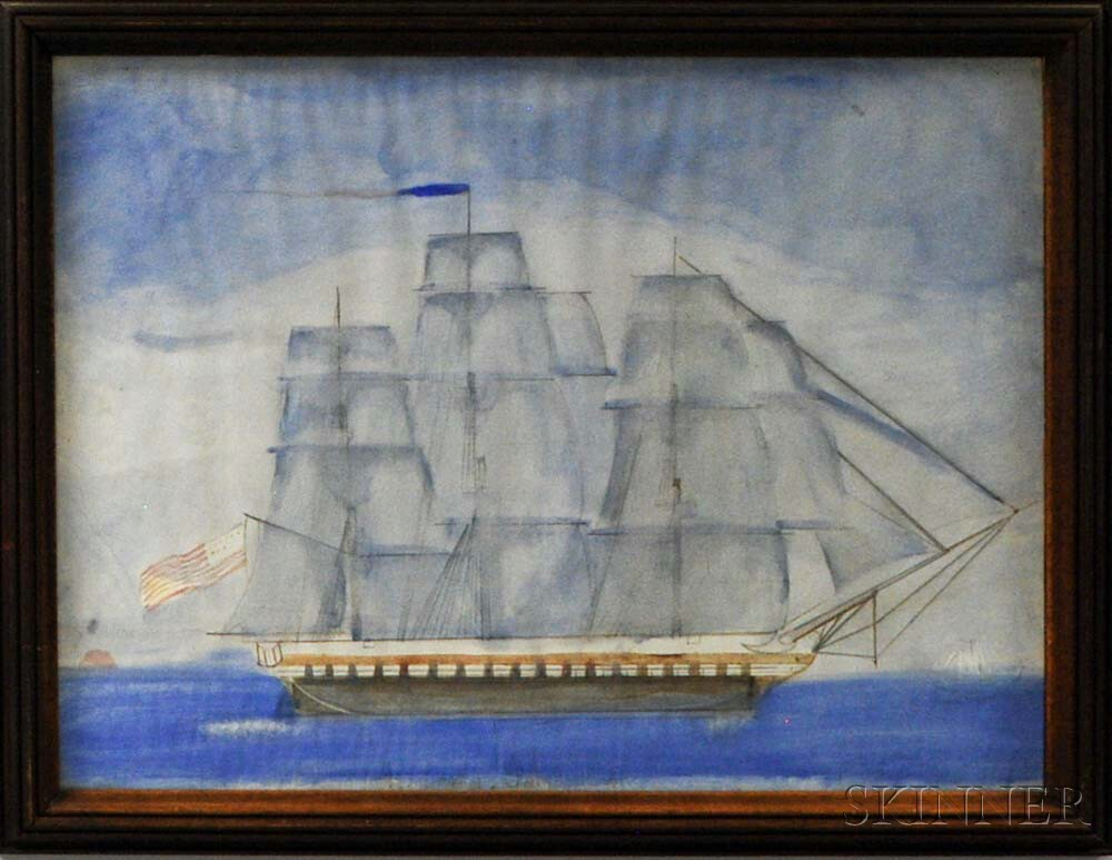 Framed Watercolor Portrait of an American Sailing Vessel