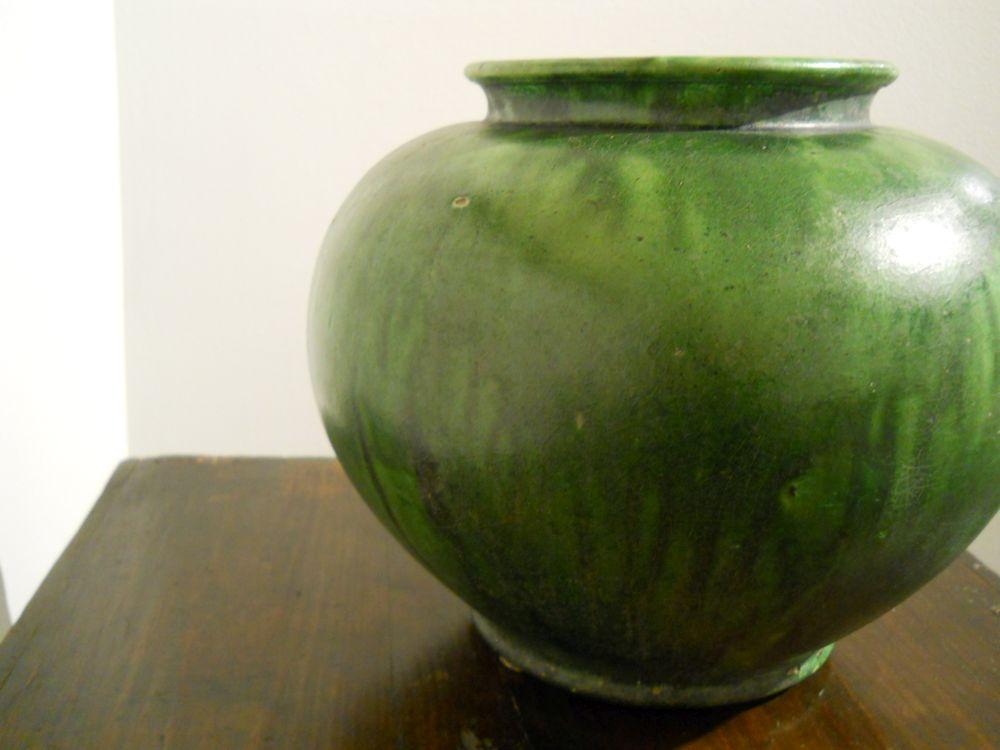 Green-glazed Stoneware Jar