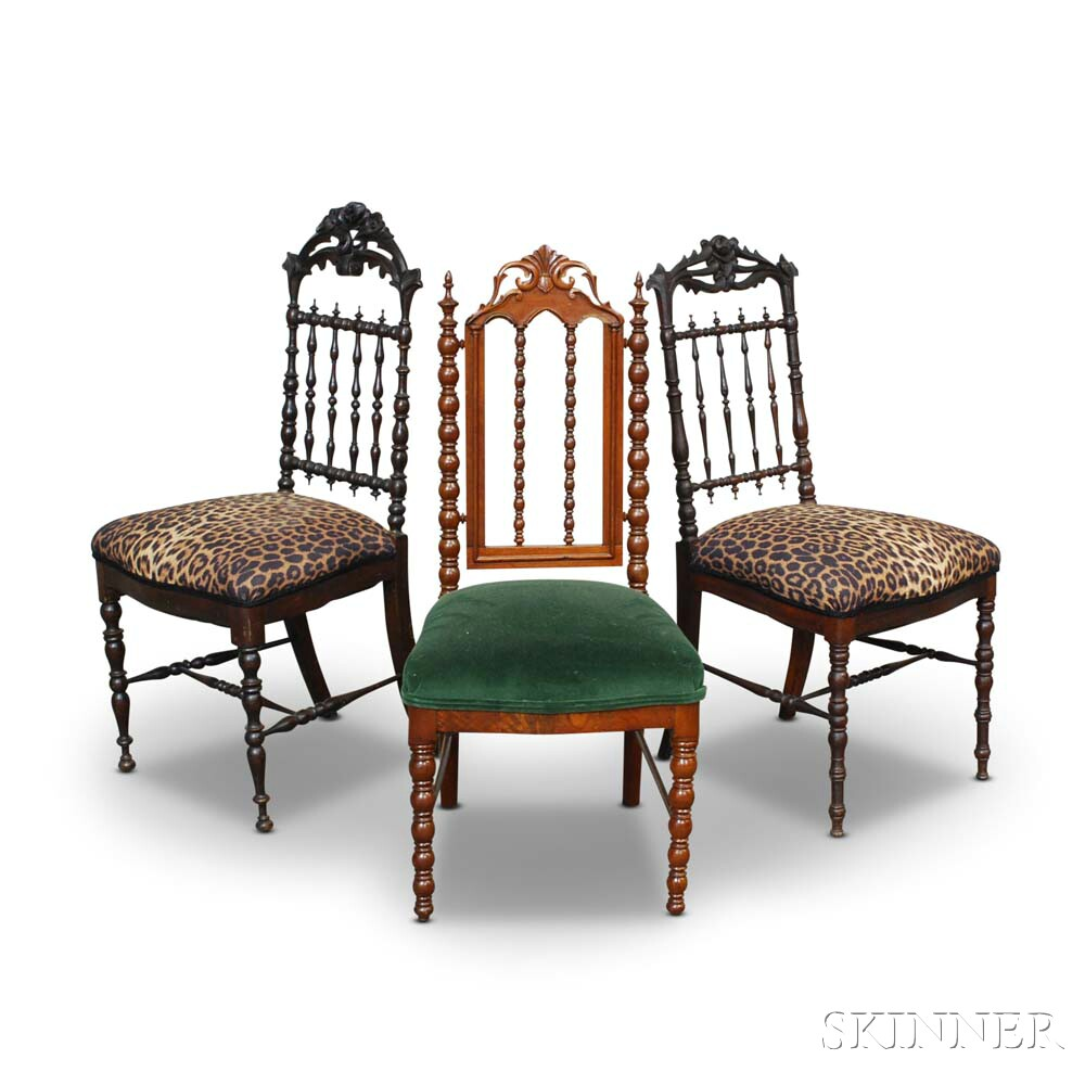 Three Gothic Revival Mahogany Side Chairs