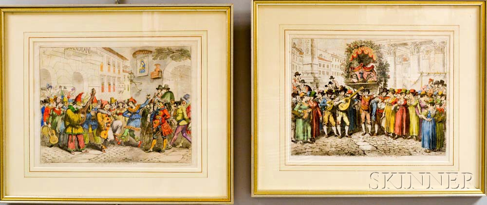 Pair of Framed Italian Hand-colored Engravings of Carnival