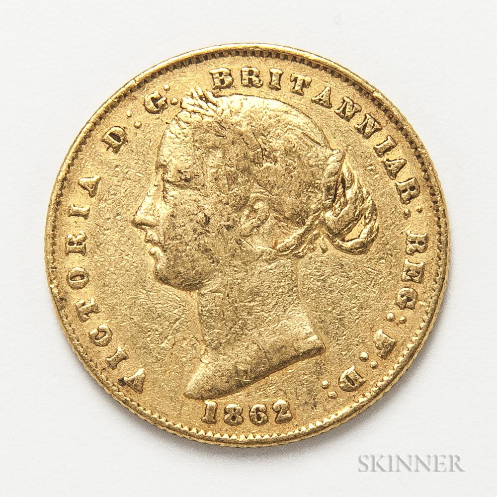 1862-S British Gold Sovereign.     Estimate $300-500