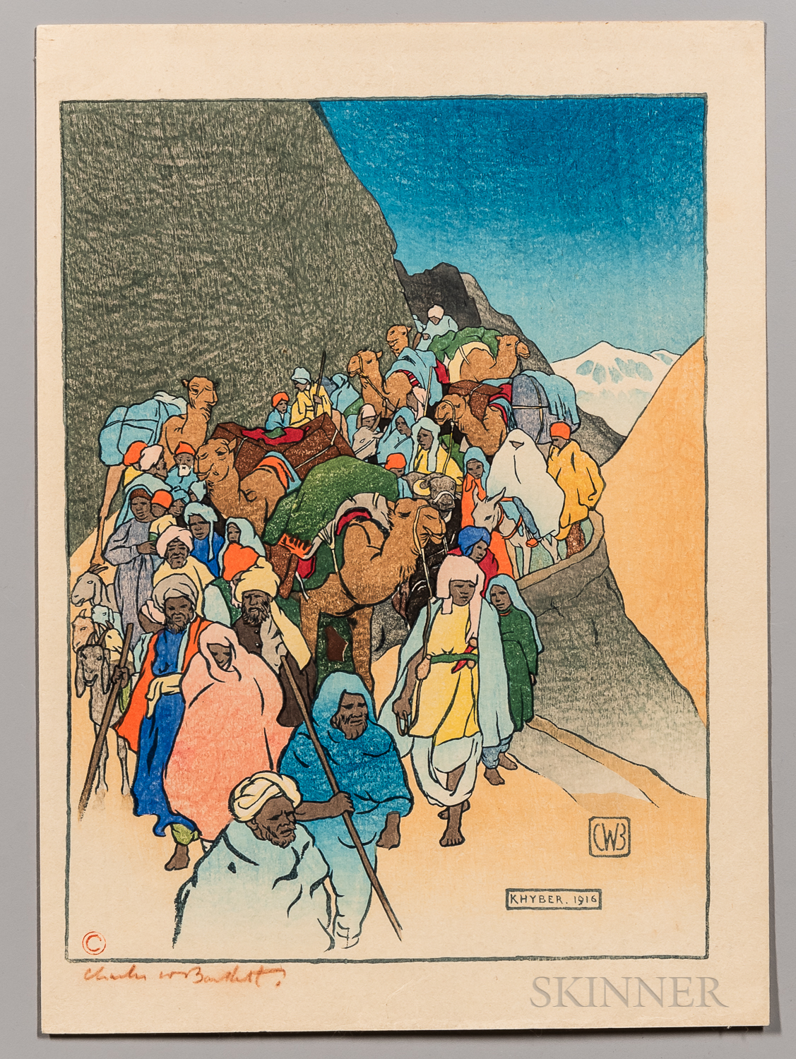 Charles W. Bartlett (1860-1940) Khyber Pass   Arts and Crafts Woodblock Print