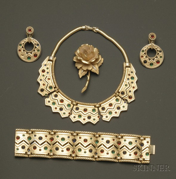 Marcel Boucher Designed Earrings, Bracelet, and Necklace Suite