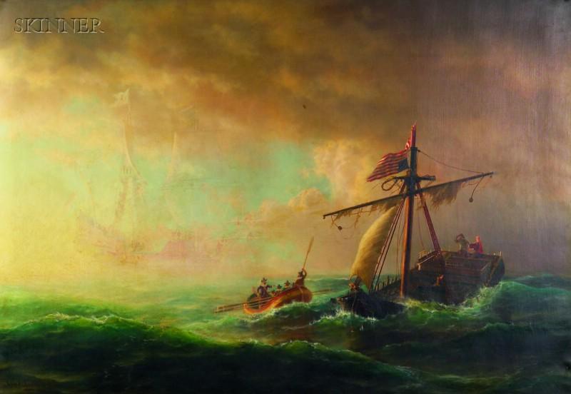 Johan (John) Erik Christian Petersen (American, 1839-1874)      Rescue After the Storm