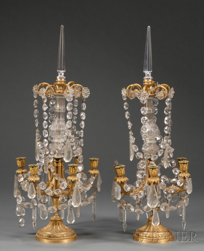 Pair of Empire-style French Gilt Metal and Colorless Glass Six Light Candelabra