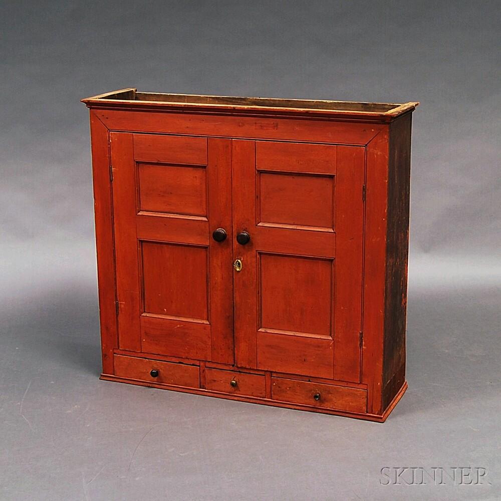 Red-painted Cupboard/Desk Top