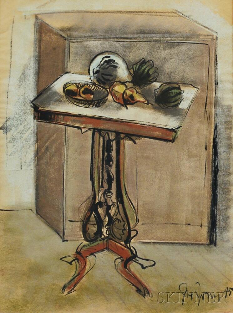 Joe (Joseph John) Jones (American, 1909-1963)      Still Life with Vegetables on a Pedestal Table