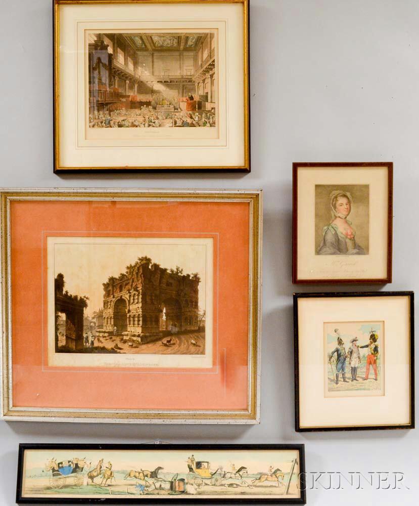 Five Framed European Prints