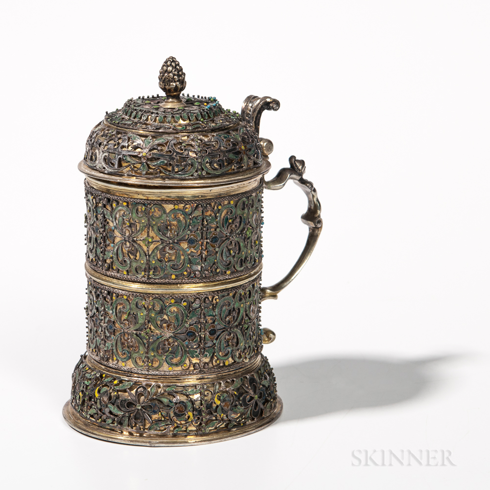 Silver-gilt and Enamel Filigree Tankard