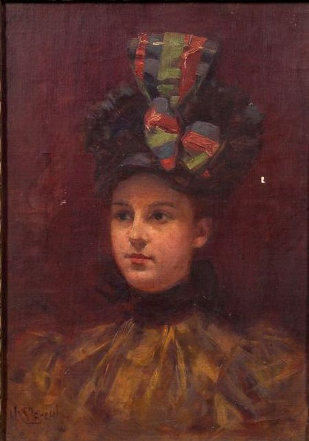 Hugo Breul (American, 1854-1910)    Portrait of a Woman with a Hat