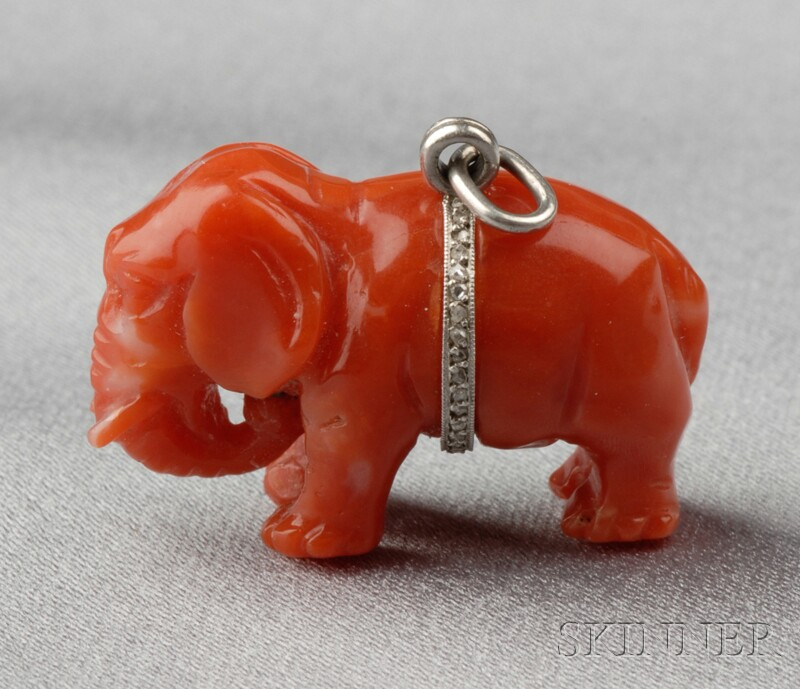 Art Deco Platinum, Carved Coral, and Diamond Elephant Charm