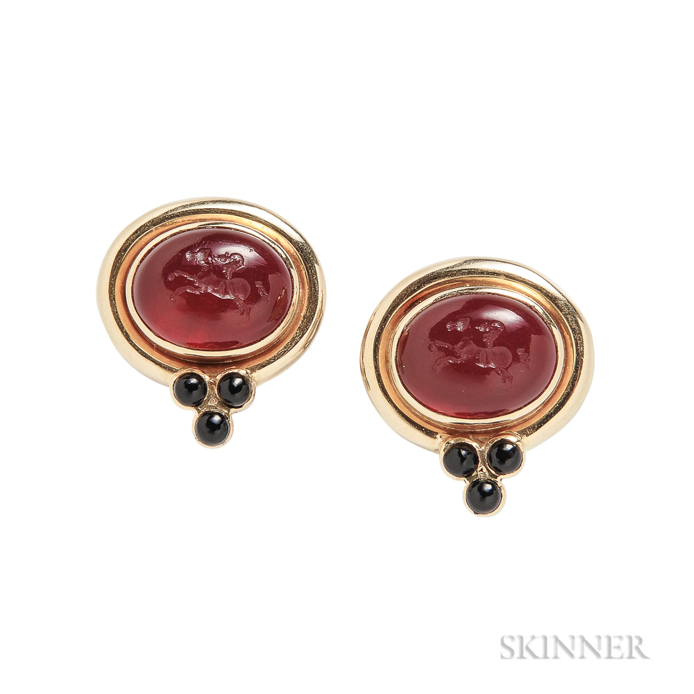 18kt Gold and Glass Intaglio Earrings, Elizabeth Locke