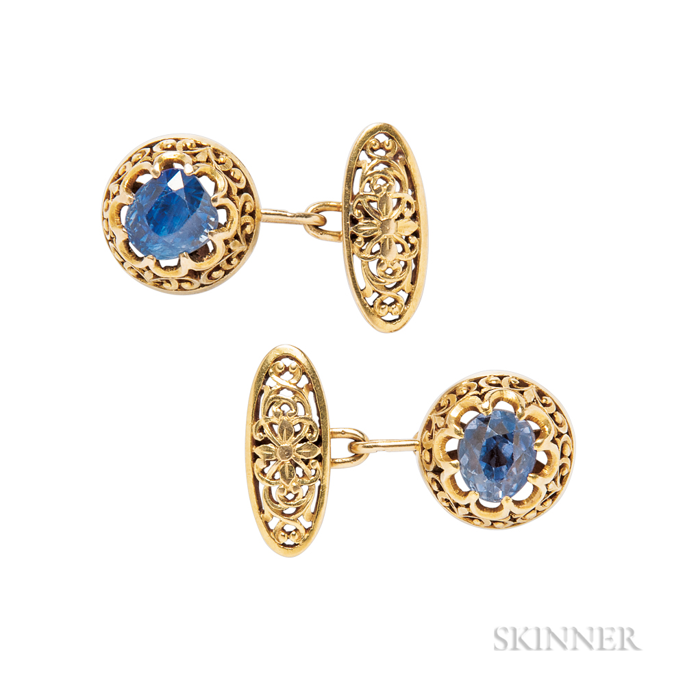 Antique Pair of Gold and Sapphire Cuff Links