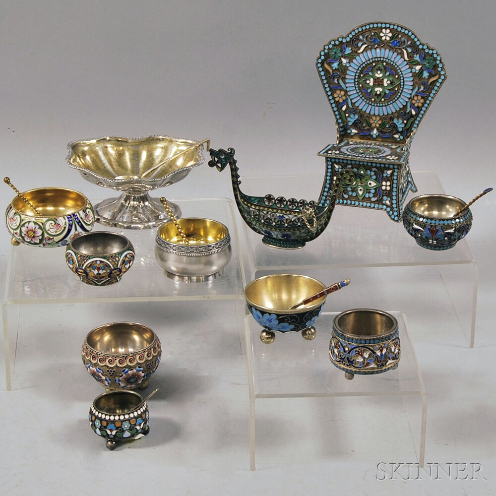 Russian Mostly Silver and Cloisonne-enamel Salts and Six Silver Spoons