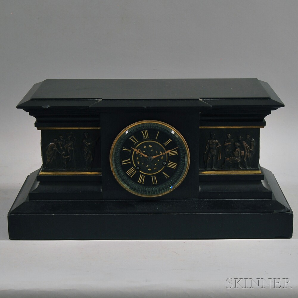 Neoclassical Black Slate Mantel Clock with Copper-mounted Figural Frieze