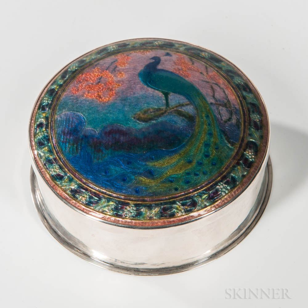 Enameled Silver Covered Box
