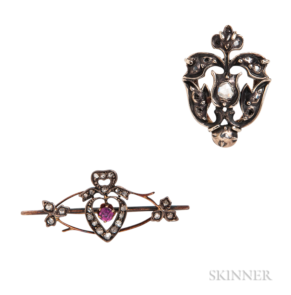 Two Rose-cut Diamond Jewelry Items