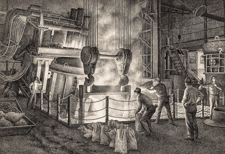 Jackson Lee Nesbitt (American, 1913-2008)      Tapping a Heat - Electric Furnace Sheffield Steel Corporation