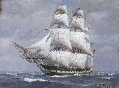 American School, 19th Century    Miniature Portrait of an American Three-Masted Sailing Vessel.