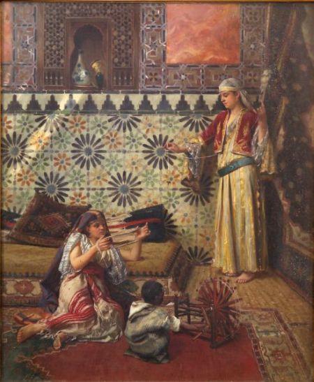 Rudolf Ernst (Austrian, 1854-1932)    Winding Yarn/A Harem View