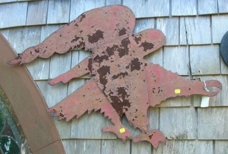 Red Painted Cut Sheet Metal Eagle.