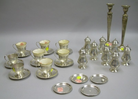 Set of Eight Watson Sterling Silver Demitasse Frames with Six Liners, a Set of Eight Shreve, Crump & Low Sterling Salt and Pepper Shake