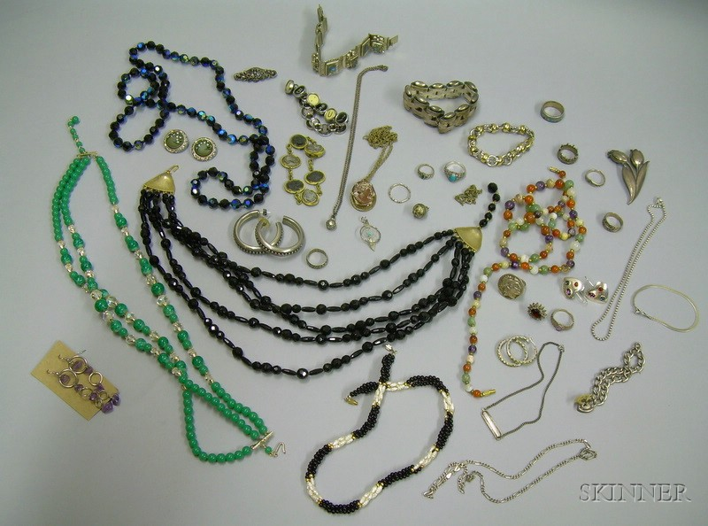 Lot of Assorted Beaded Necklaces, Sterling Silver, and Costume Jewelry.