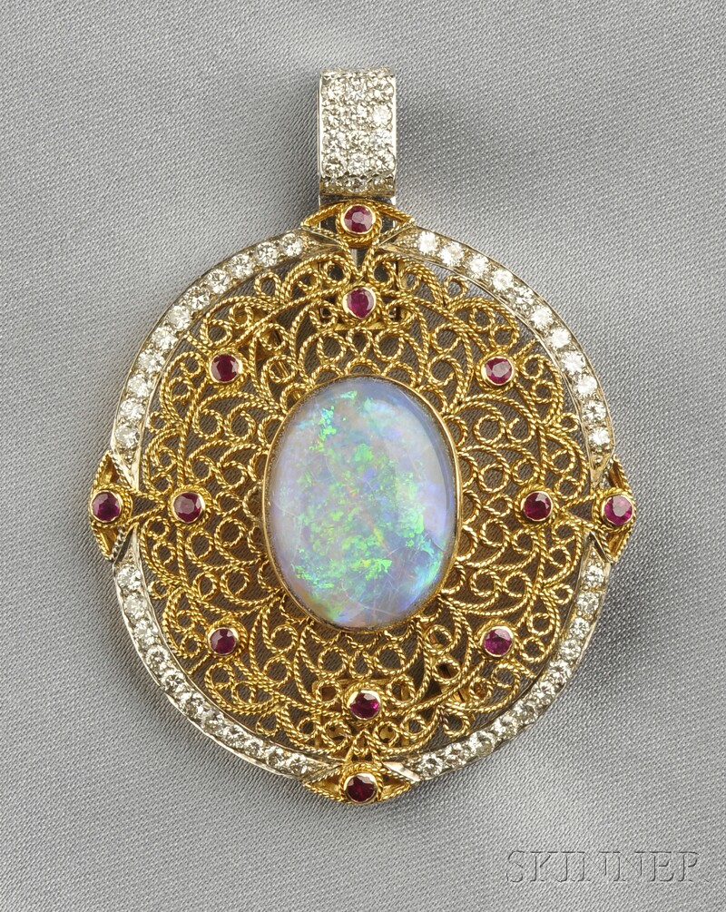 18kt Gold, Opal, Ruby, and Diamond Pendant/Brooch