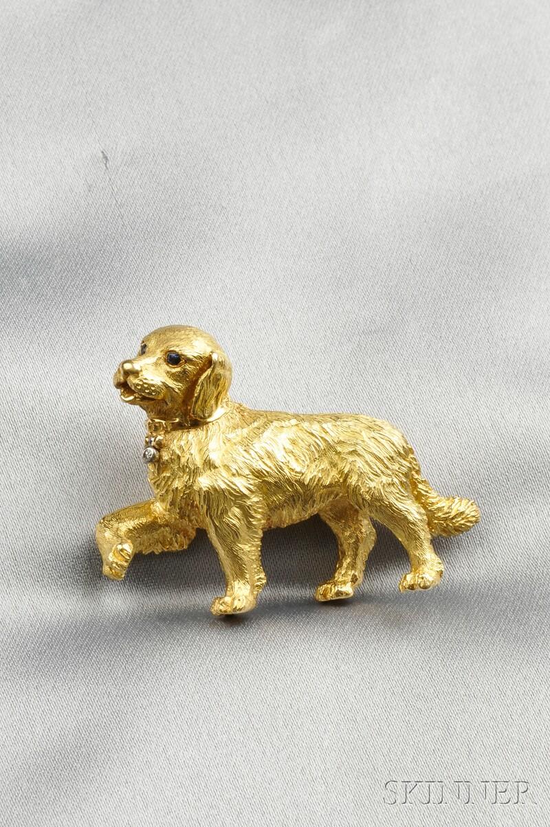 18kt Gold Gem-set Dog Brooch, Tiffany & Co.