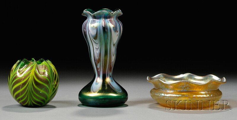 Art Glass Bowl and Two Vases