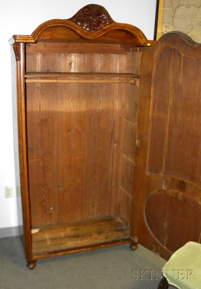 French Provincial-style Walnut Veneer Armoire