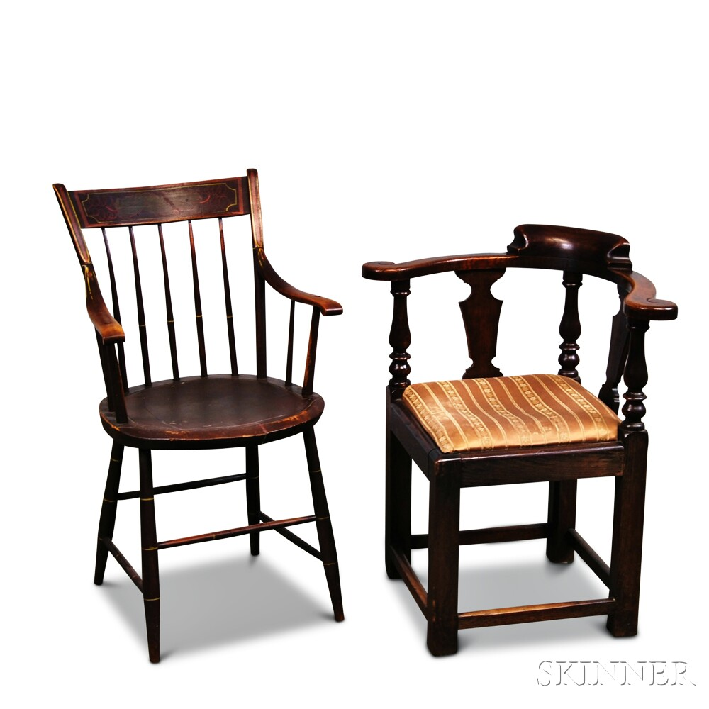 George III Oak Roundabout Chair and a Painted Thumb-back Windsor Potty   Chair