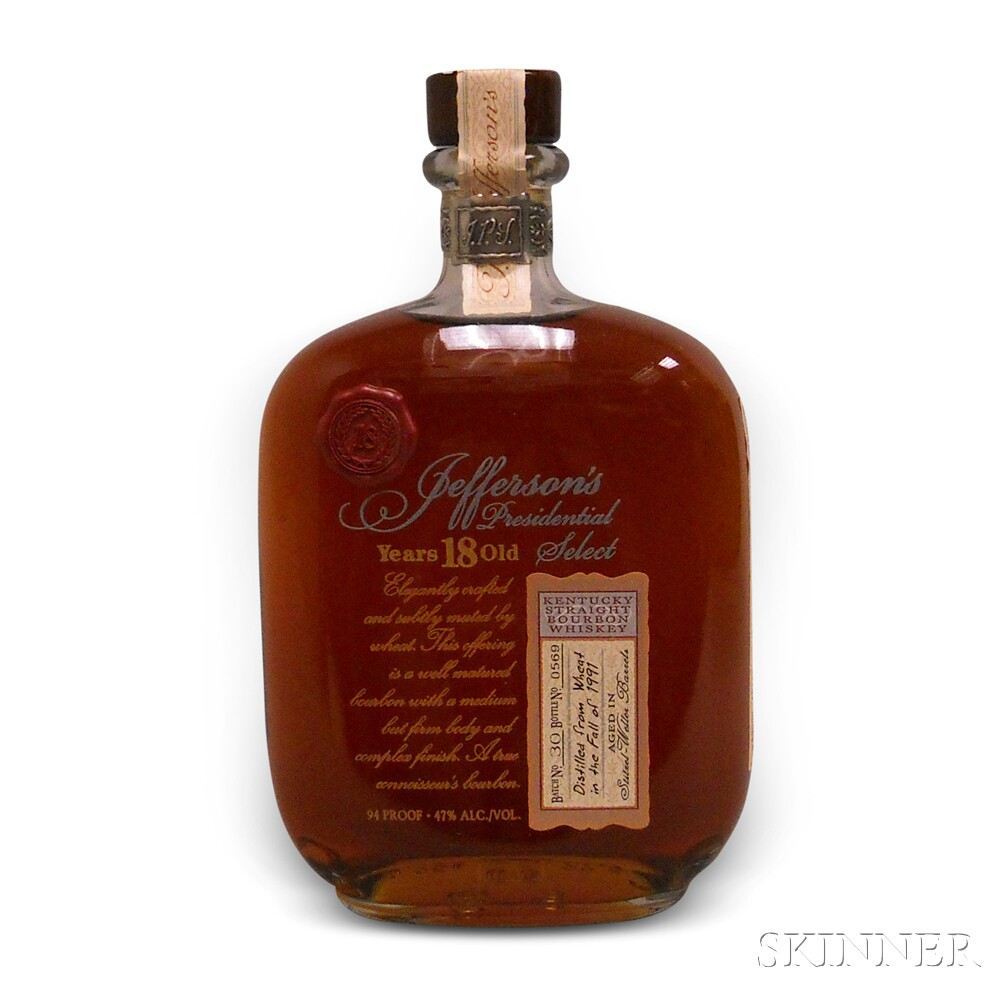 Jeffersons Presidential Select Bourbon 18 Years Old, 1 750ml bottle