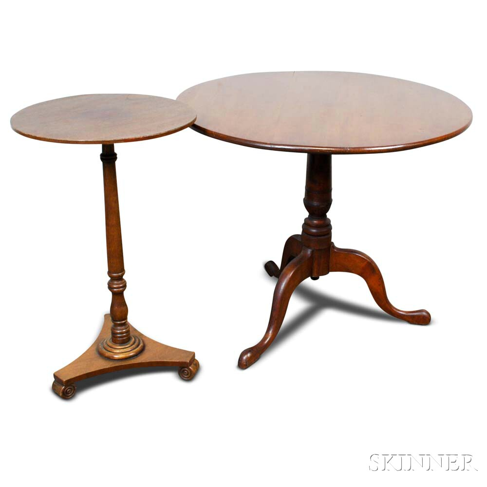 Chippendale Cherry Tilt-top Tea Table and a Walnut Candlestand