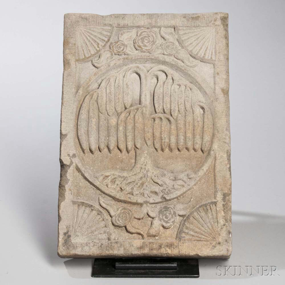 Carved Sandstone Willow Tree Plaque