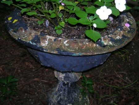 Black Painted Cast Iron Garden Urn.